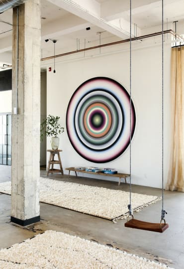 Paintings by Gary Lang seen at Venice Studio, Los Angeles - Circles and Lines