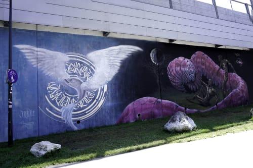 Street Murals by Illunis seen at Kreuzbrünndlgasse, Salzburg - (Un)Freiheit