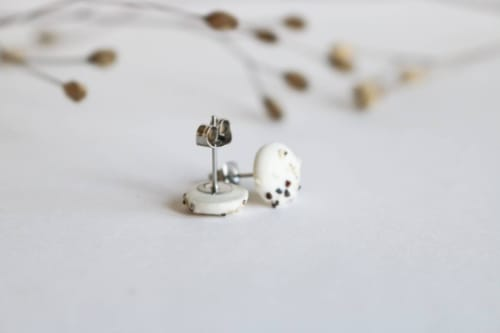Apparel & Accessories by Emprium Julium Ceramics by Julija Pustovrh seen at Private Residence, Edinburgh - ALBA - Scottish sand porcelain stud earrings