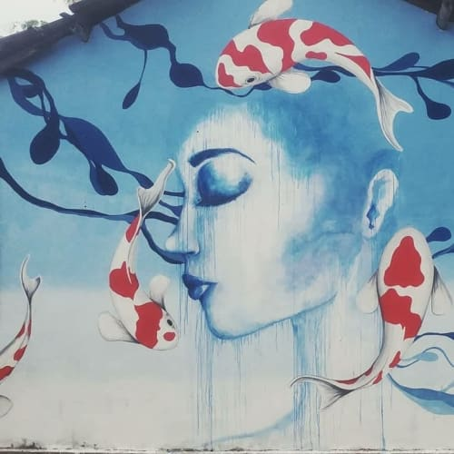 Street Murals by Stefania Gallina - MAPU Lab seen at Midigama Railway Station - Blue and Red - Personal mural