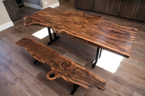 Tables by Lumberlust Designs seen at Private Residence, Sedona - Black Cherry Burl Rustic  Furniture Set