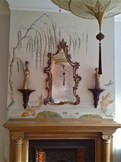 Murals by Kari Serrao seen at Private Residence, Toronto - Chinoiserie Mantle