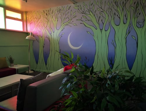 Murals by Charlie Illustrates / Charlotte Weatherstone seen at St Cuthbert's Catholic High School, Saint Helens - Mural & Fabric Design at St Cuthbert's CHS - St Helens Wellbeing Room