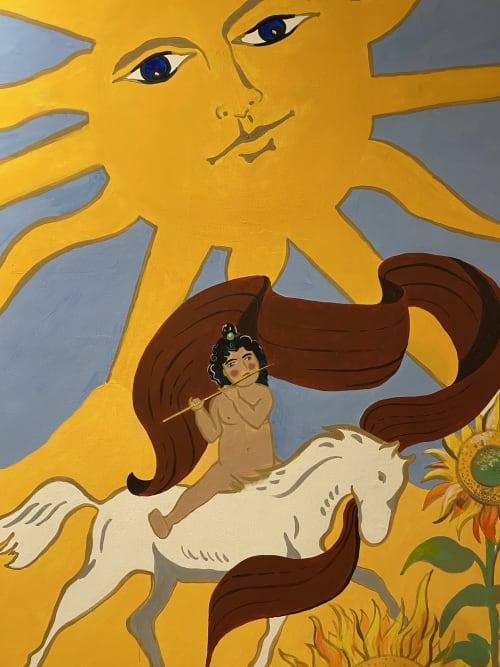 Murals by Galih Sakti seen at Private Residence, South Jakarta - Major Arcana Sun mural painting