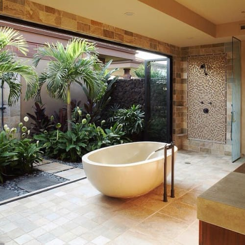 Water Fixtures by Concreteworks seen at Hualalai Spa at Four Seasons Resort Hualalai, Kailua-Kona - Barcelona Tub
