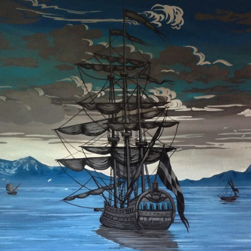 Murals by Megan Lingerfelt seen at Private Residence - Sail Away