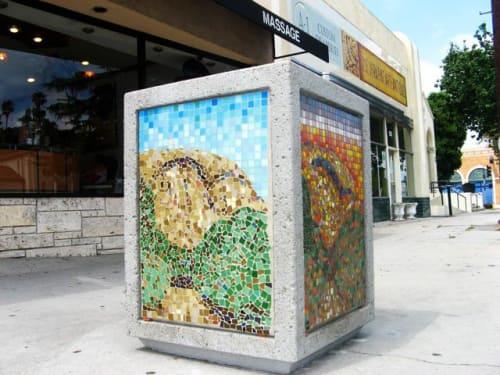 Public Mosaics by Kelly Witmer at 2008 Colorado Boulevard, Eagle Rock, Los Angeles - Trash Can Mosaic