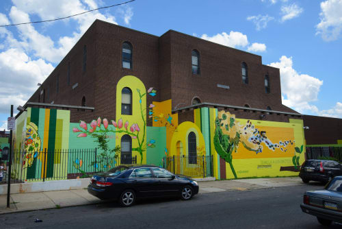 Street Murals by Marion Wilson seen at Philadelphia, Philadelphia - Uprooted/reRooted Mural and Themed garden