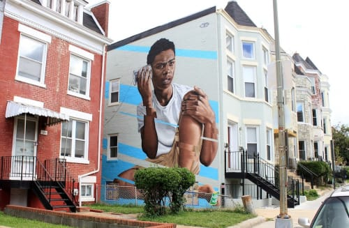 Street Murals by James Bullough seen at 3609 13th St NW, Washington - Tin-Can Telephone