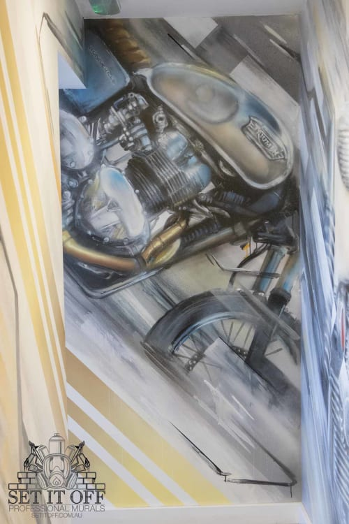 Murals by Set It Off Murals seen at Depot Eatery, Ilfracombe - Triumph Motorcycle Wall Art