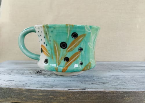 Cups by Linda Peterson | Mud 'n Biscuits Ceramics seen at Private Residence, Scotch Plains - Porcelain Cup