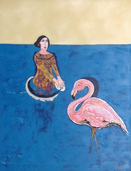 """Paintings by Diana Rosa seen at Cafe Cancan, Toronto - Madame flamingo by Diana Rosa, 40"""" x 30"""""""