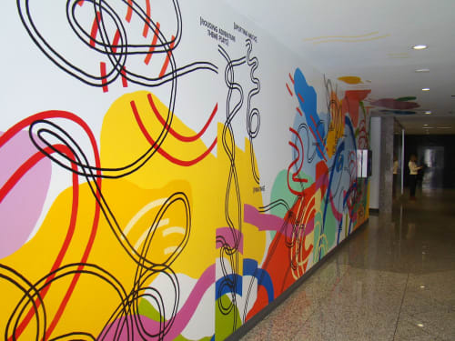 Murals by Olive Moya seen at Republic Plaza, Denver - Then The Story Goes
