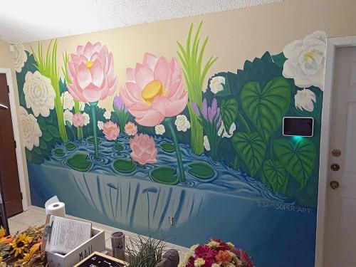 Murals by Sam Soper — Art & Illustration seen at Private Residence, Austin - Lotus Pond Garden Mural