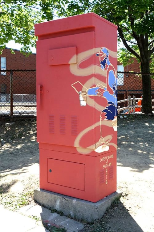 Street Murals by Loren Yeung seen at Sheppard Avenue West & Northover Street, Toronto - COFFEE Traffic Box Mural