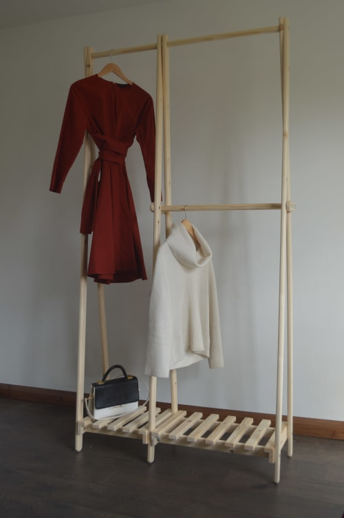 Furniture by Pobi Shop seen at Private Residence, Dewsbury - Handmade Clothes Rack with Pallet Shelf