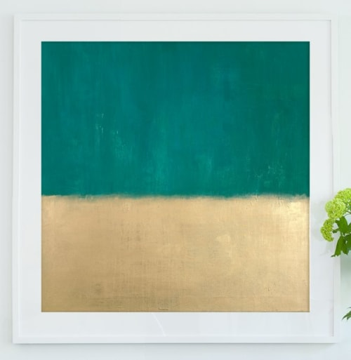 Paintings by Matthew Thomas seen at Club Quarters Hotel in Houston, Houston - Teal and Gold