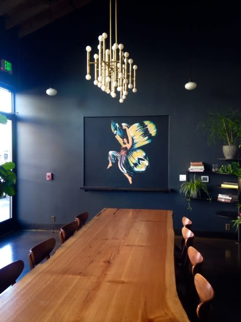 Murals by Leiv Fagereng seen at Renata, Portland - ABSINTHE FAERIE Acrylic paint on existing wall. 2019 48x60 inches.