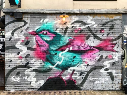 Murals by Captain Kris seen at BrewDog Shoreditch, London - Mural