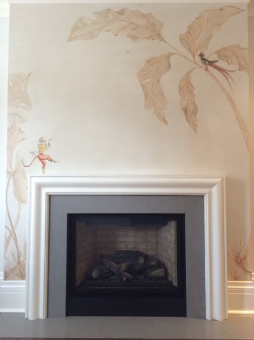 Murals by Kari Serrao seen at Private Residence, Toronto - Whimsical Monkey on a Mantle