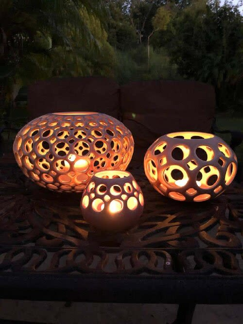 Sculptures by Lynne Meade - Lace Orb Vessel - Blush