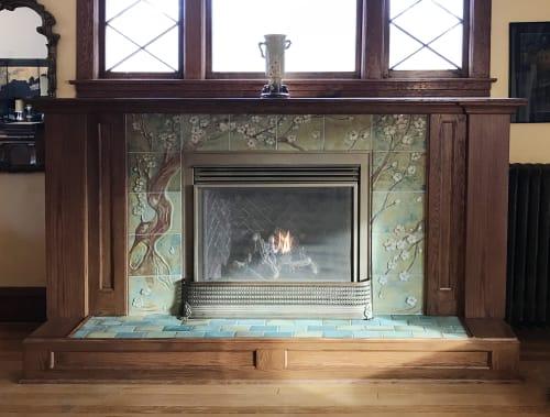 Tiles by Pasadena Craftsman Tile seen at Private Residence, Minneapolis, MN, Minneapolis - Merissa Fireplace