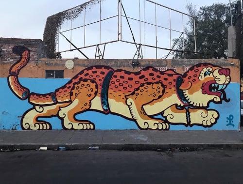 "Street Murals by Last Ones Studio seen at San Luis Potosí, San Luis Potosi - ""Jaguar"" Mural"