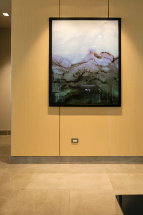 "Paintings by Julia Di Sano seen at AC Hotel by Marriott San Juan Condado, San Juan - ""Winter Waves"" Fine Art Print at AC Marriott Hotel in San Juan, Puerto Rico"