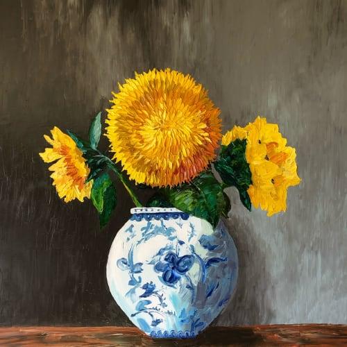 Teddy Bear Sunflower in Blue   Paintings by Tessa Nicole Art