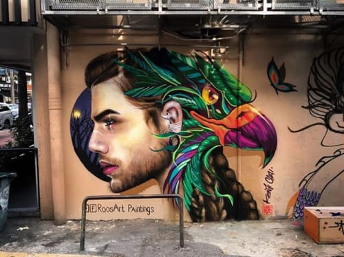 Street Murals by RoosArt Paintings seen at Private Residence, Kuala Lumpur - The Falcon