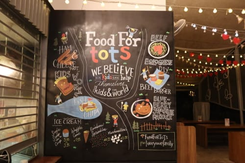 Signage by Nathaniel Ong / Chalk Lettering & Signs seen at Food For Tots, Singapore - Instagrammable Wall (chalk art)