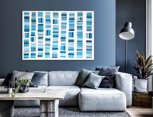 Paintings by Linnea Heide contemporary fine art seen at Private Residence, Dallas - 'MALLORCA' original abstract painting by Linnea Heide