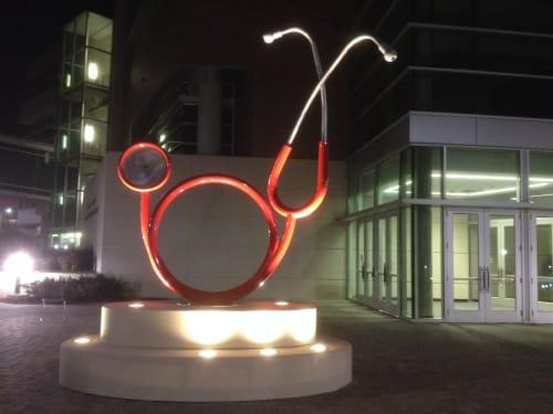Public Sculptures by KevinBoxStudio. at University of Nebraska Medical Center, Omaha - Stethoscope
