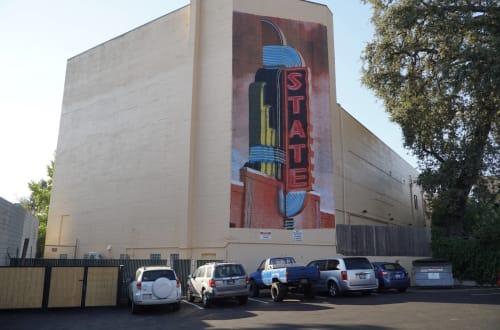 Street Murals by Robot Muralist seen at Auburn, Auburn - Mural State theatre