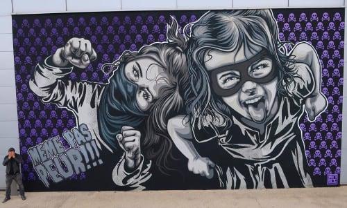 Murals by RNST seen at Clos of Oak, Montévrain - Not even afraid