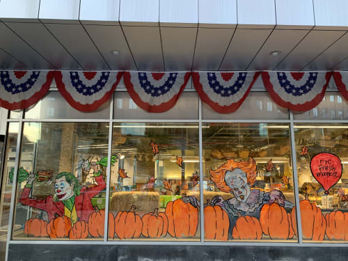 Paintings by Priscilla Perez seen at NYC Fresh Market, Brooklyn - Halloween Window Painting