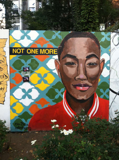 Street Murals by Kim Sillen Art  + Design seen at First Street Green Cultural Park, New York - Not One More