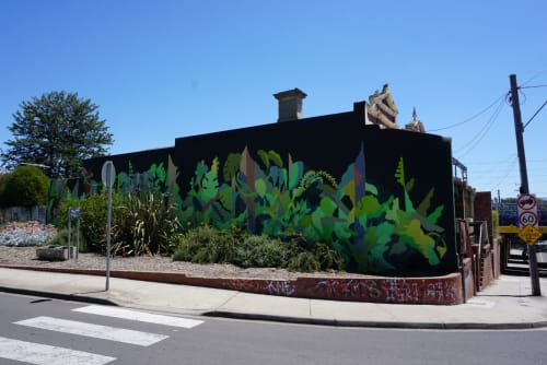 Street Murals by FIKARIS seen at Middle Footscray Station, Footscray - michael fikaris