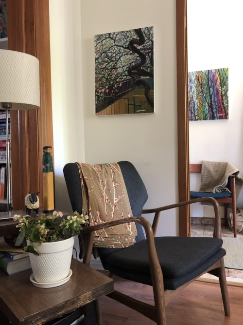 Paintings by Nancy L Moore SCA, OSA seen at Private Residence, Toronto - Old Magnolia Tree, painting and Amongst My Friends, painting