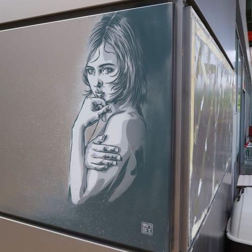 Murals by RNST seen at Clos of Oak, Montévrain - Stencil Mural