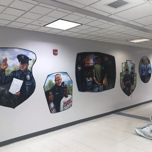 Murals by Promiseland Murals, LLC seen at Upper Gwynedd Twp Police Office, North Wales - Indoor Mural