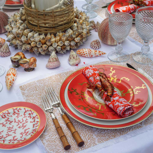 Tableware by Cosima Interiors seen at Private Residence, Ibiza - Coral Tablescape