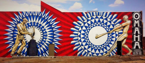 """Murals by Justin Queal seen at J.F. Bloom & Co, Omaha - """"Home Run"""" mural"""