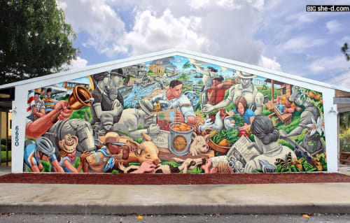 Street Murals by Andrew Reid SHEd seen at Old Davie School Historical Museum, Davie - 'Living History'