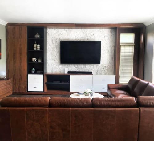 Furniture by Birdseye Custom Woodwork Inc seen at Private Residence - Media Center