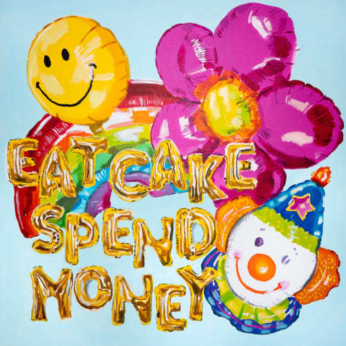 "Paintings by Ashley Longshore seen at Creator's Studio, New Orleans - 36 x 36 ""Eat Cake Spend Money"""