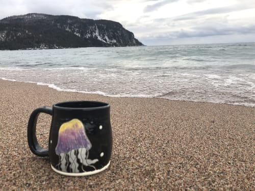 Cups by Smiley Seahorse Ceramics seen at Lake Superior - Jellyfish Ceramic Mug
