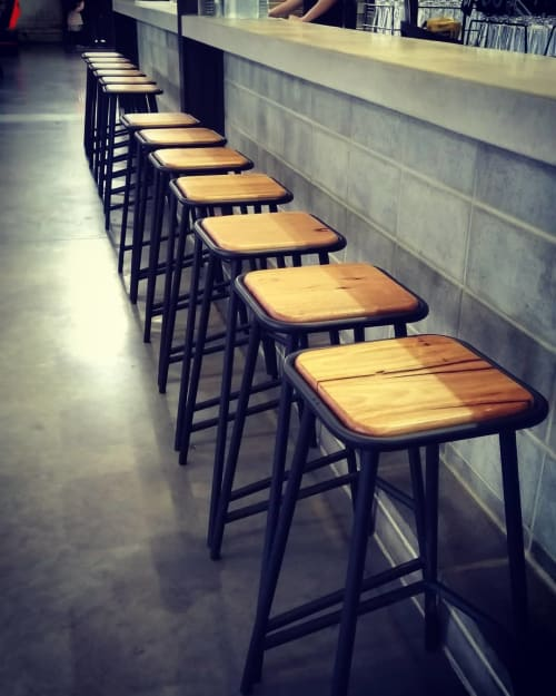 Chairs by Caren Elliss Design seen at Pirate Life Brewing - Port Adelaide, Port Adelaide - Pony Stools - Little Nipper, PonY and Brumby
