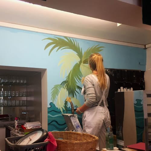 Murals by 2 Sisters seen at Small Island Catering Ltd, Portsmouth - Indoor Mural