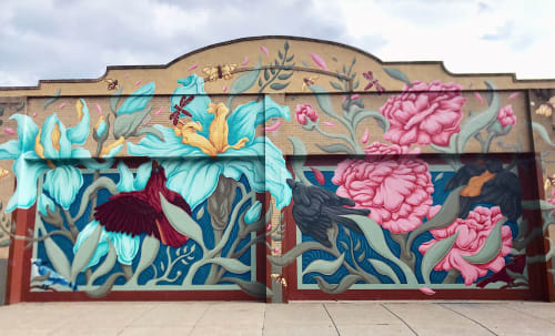 Street Murals by Christian Dallas Art seen at 1920 Race St, Cincinnati - Rookwood Revival